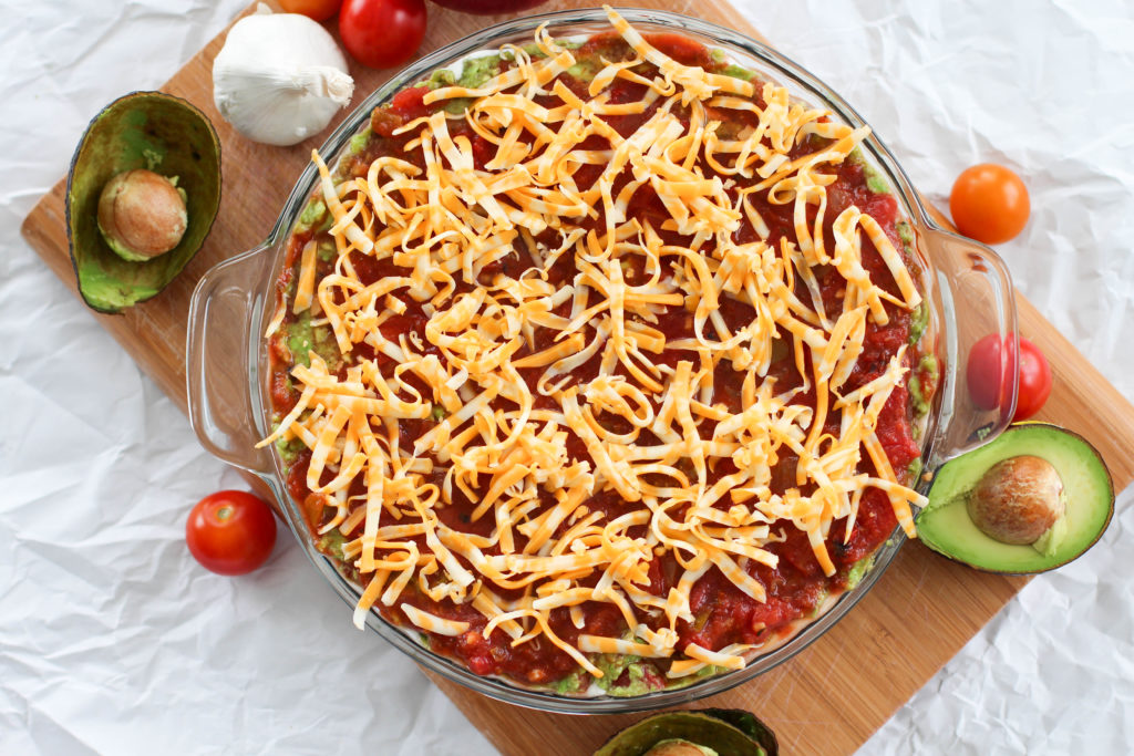 top view of cheese layer of keto 7 layer taco dip