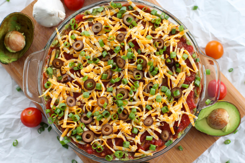 top view of keto 7 layer taco dip