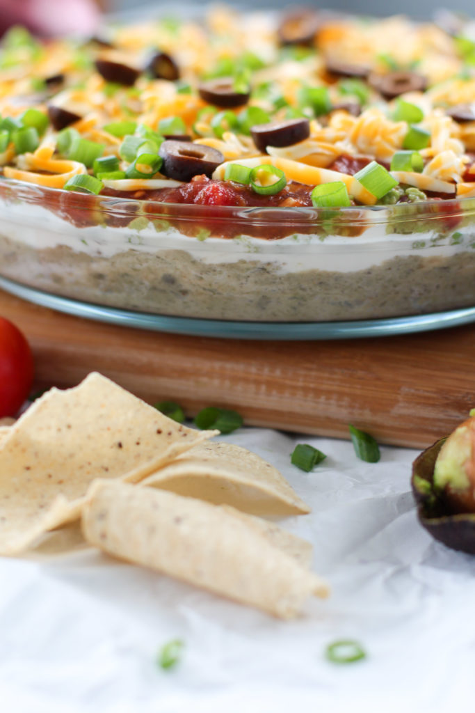side view of keto 7 layer taco dip