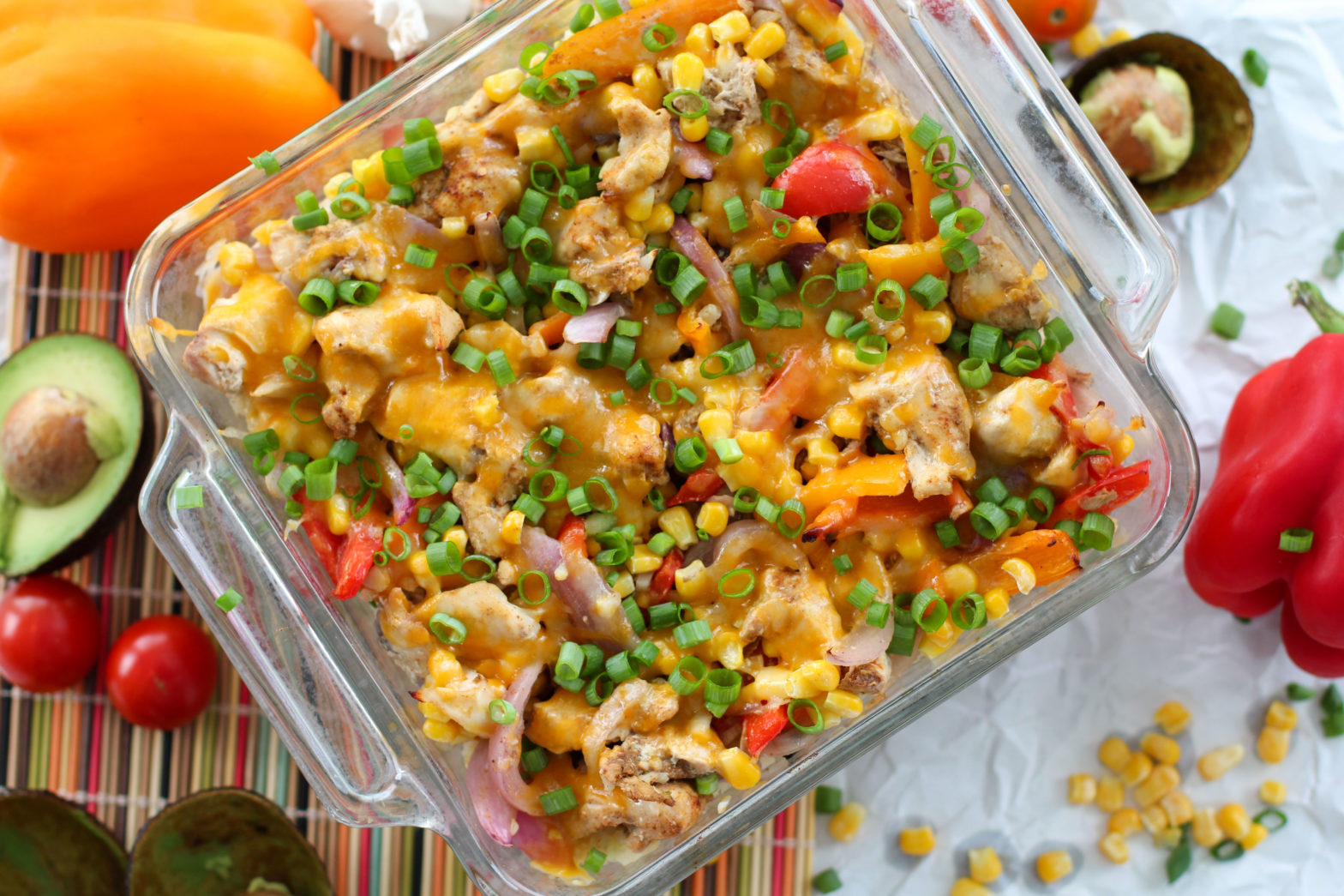 Healthy Chicken Fajita Casserole surrounded by veggies