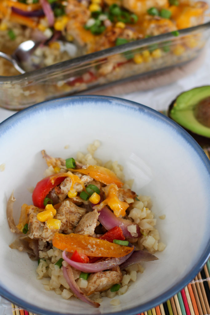 Bowl of easy chicken fajita casserole