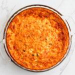 Pie dish of tomato basil egg casserole