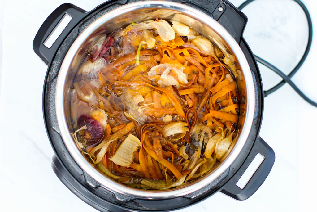top view of instant pot full of homemade broth