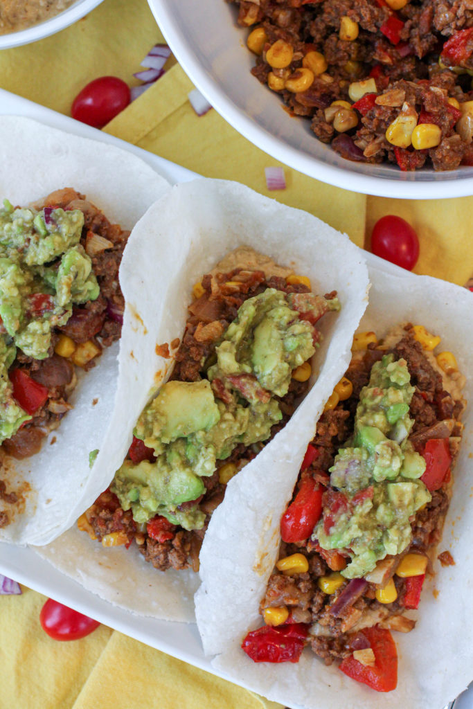 3 Taco's topped with guacamole