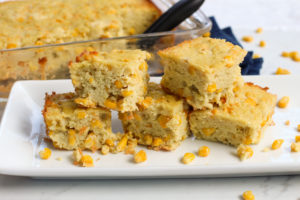 Plate and baking pan with cornbread