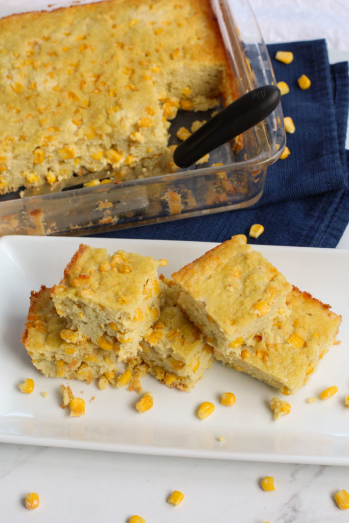 plate and pan of cornbread