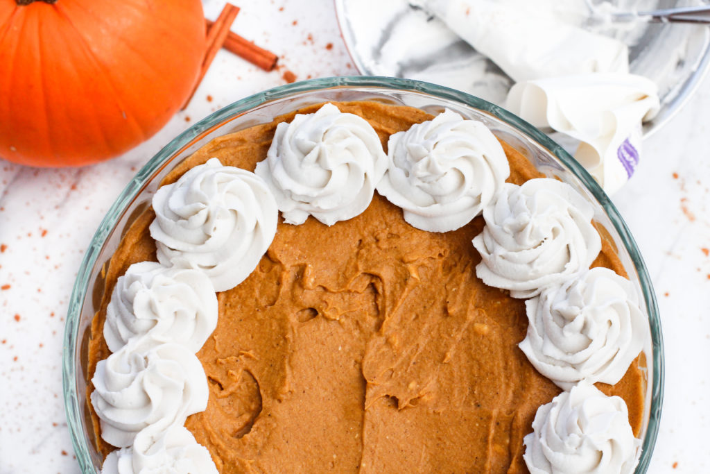 top view of pumpkin pie trifle