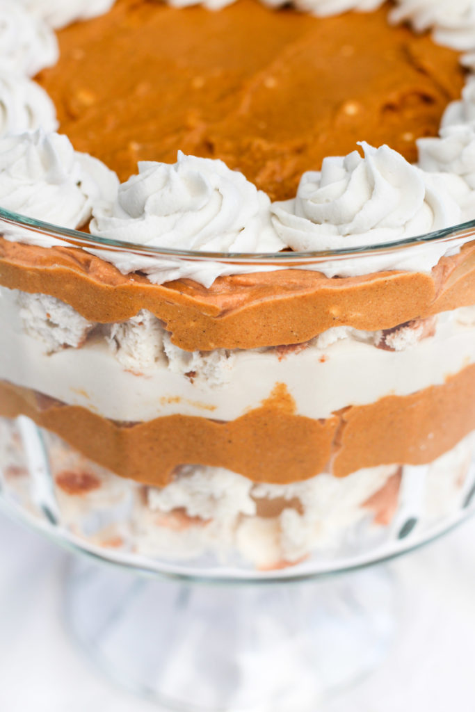 side view of pumpkin pie trifle