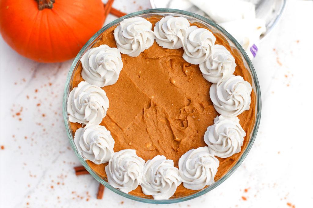 top view of pumpkin pie trifle