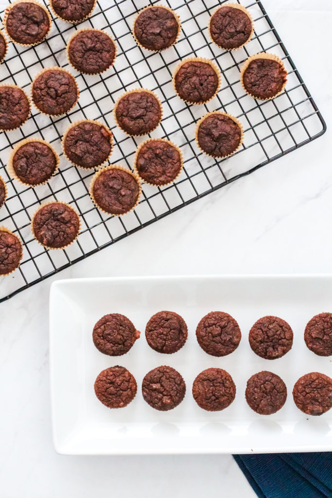 Plate and cooling rack of healthy chocolate banana muffins