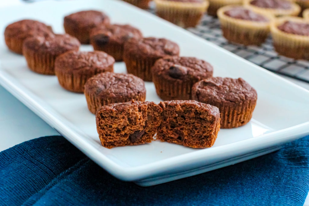 Plate of chocolate chunk banana muffins