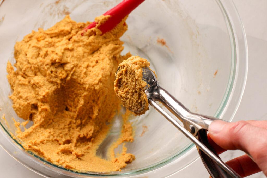 cookie scoop with pumpkin pie truffle dough