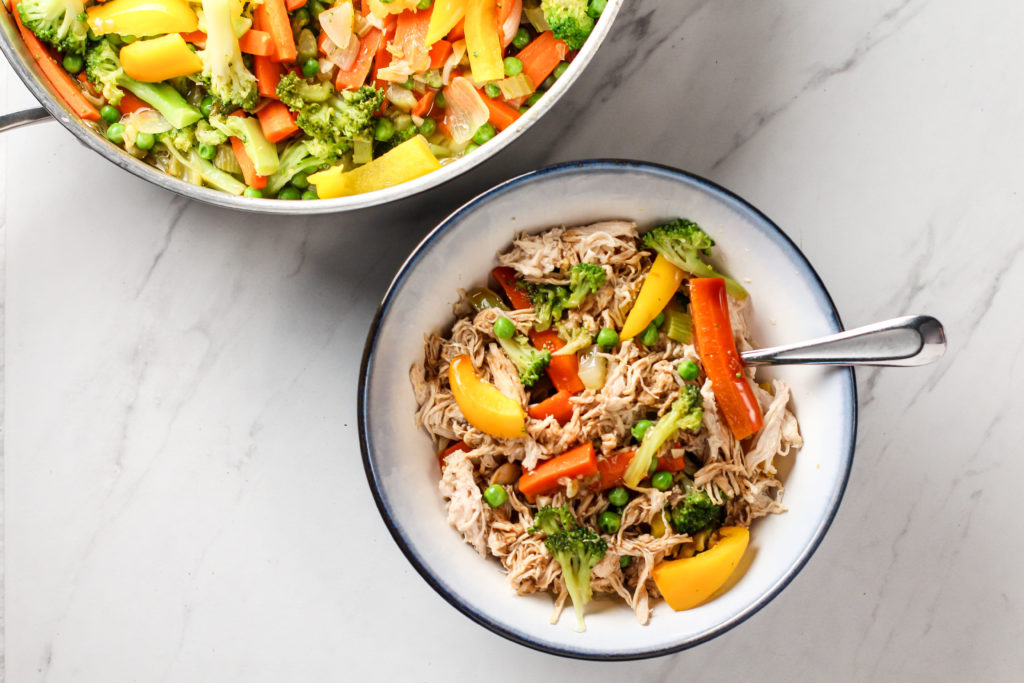 Bowl and Pan of Healthy Chicken Stir-fry