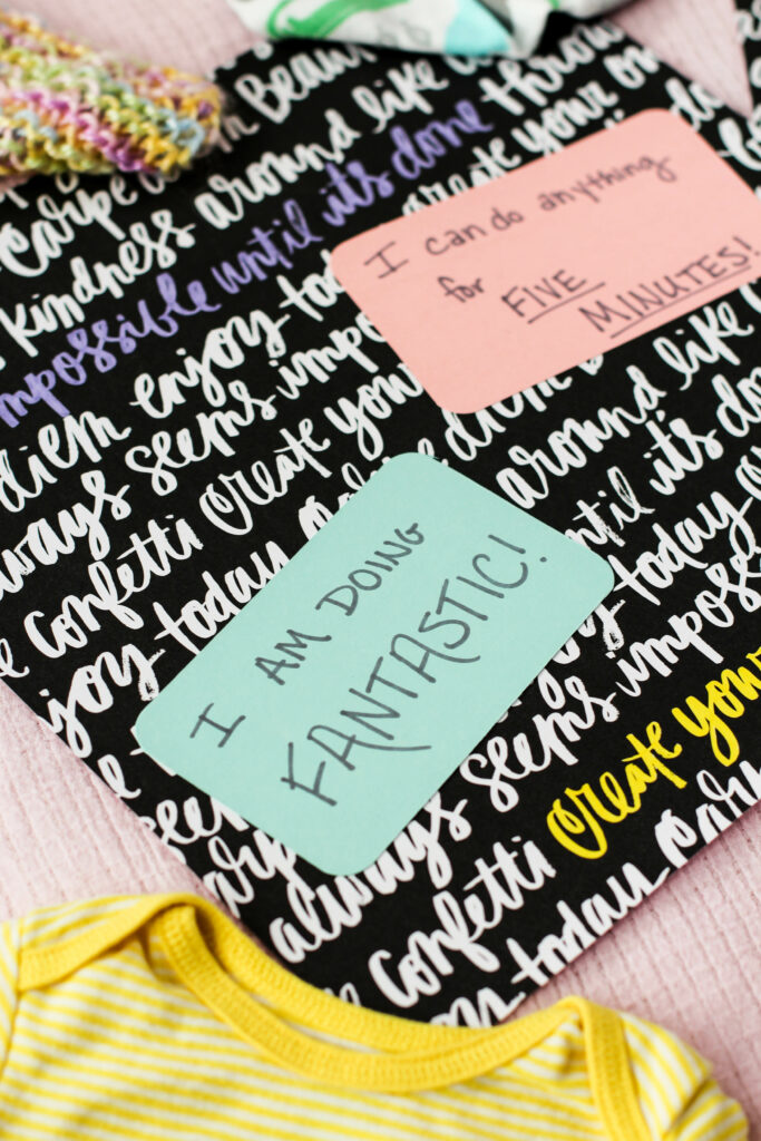birth affirmations on a scrapbook page