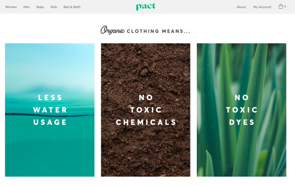 pact clothing website homepage