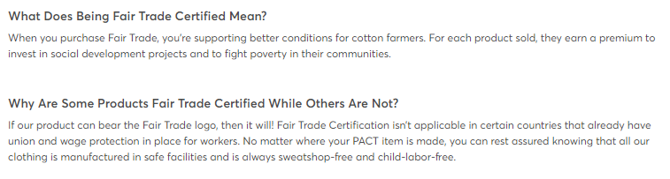 Pact fair trade