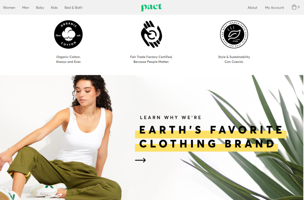Pact clothing homepage certifications