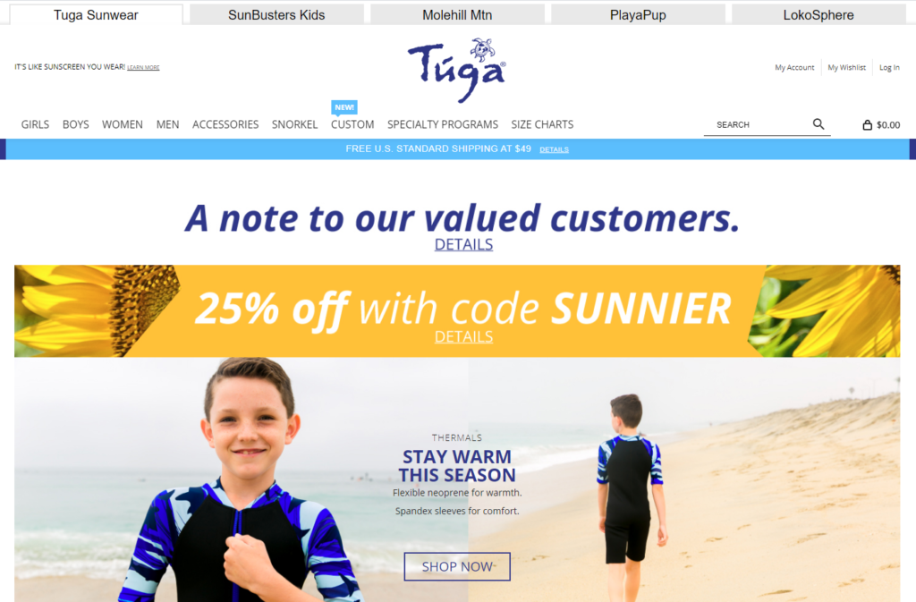 Tuga Sunwear Website for non-toxic kids and adults swimwear