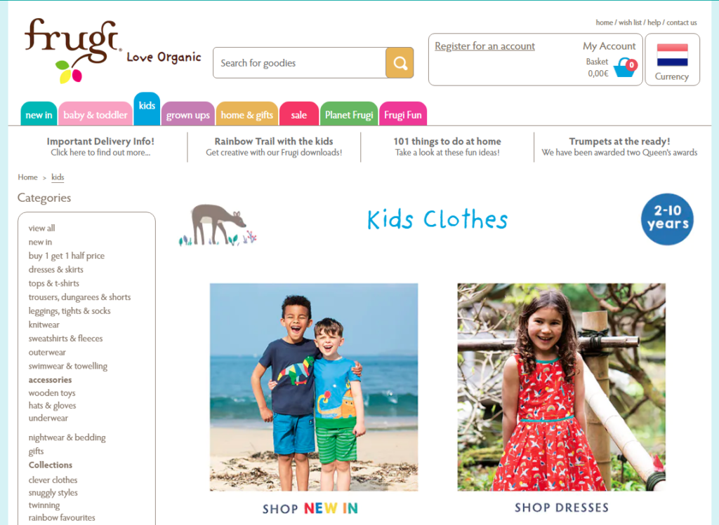Frugi website for non-toxic kids clothes