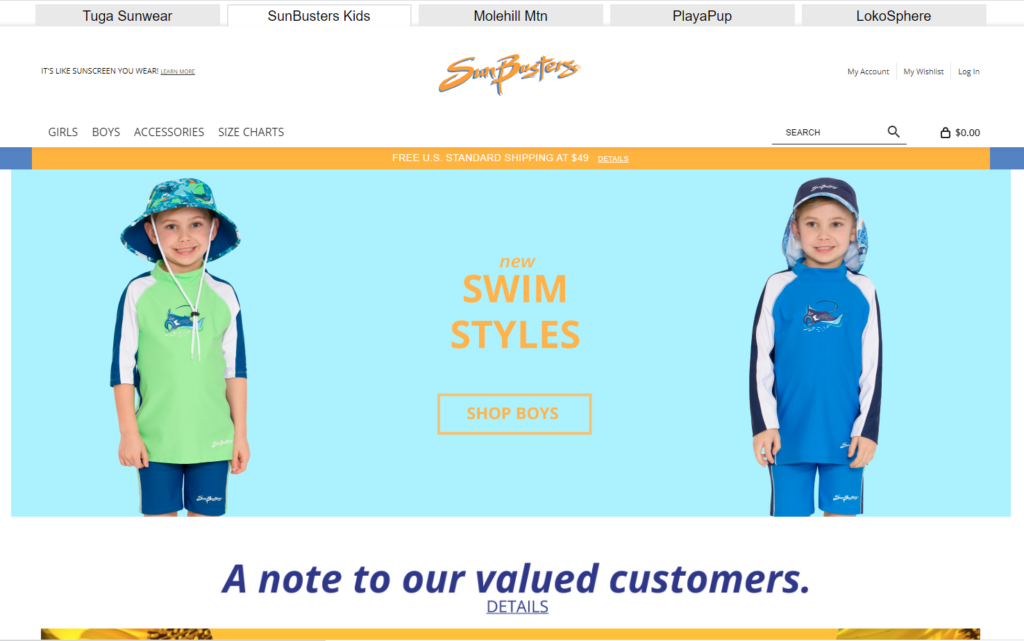 sunbuster kids website for non-toxic kids swimwear