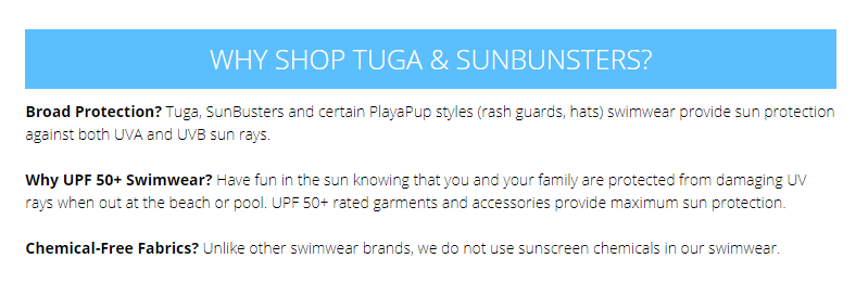 tuga sunwear statment about being non-toxic swimwear