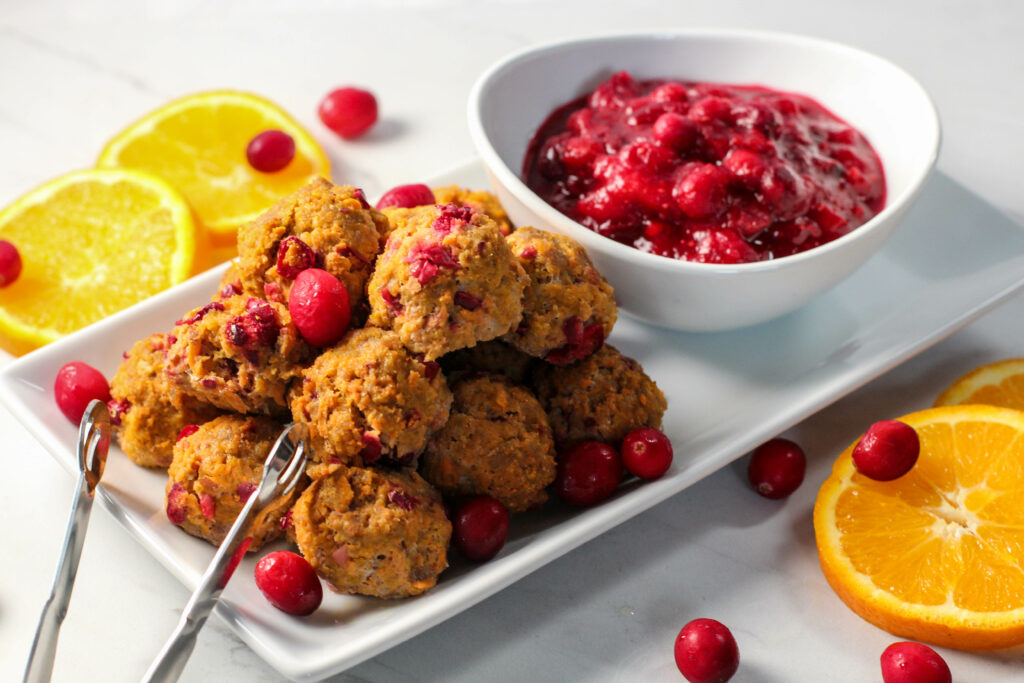 plate of cranberry orange meatballs with cranberry sauce