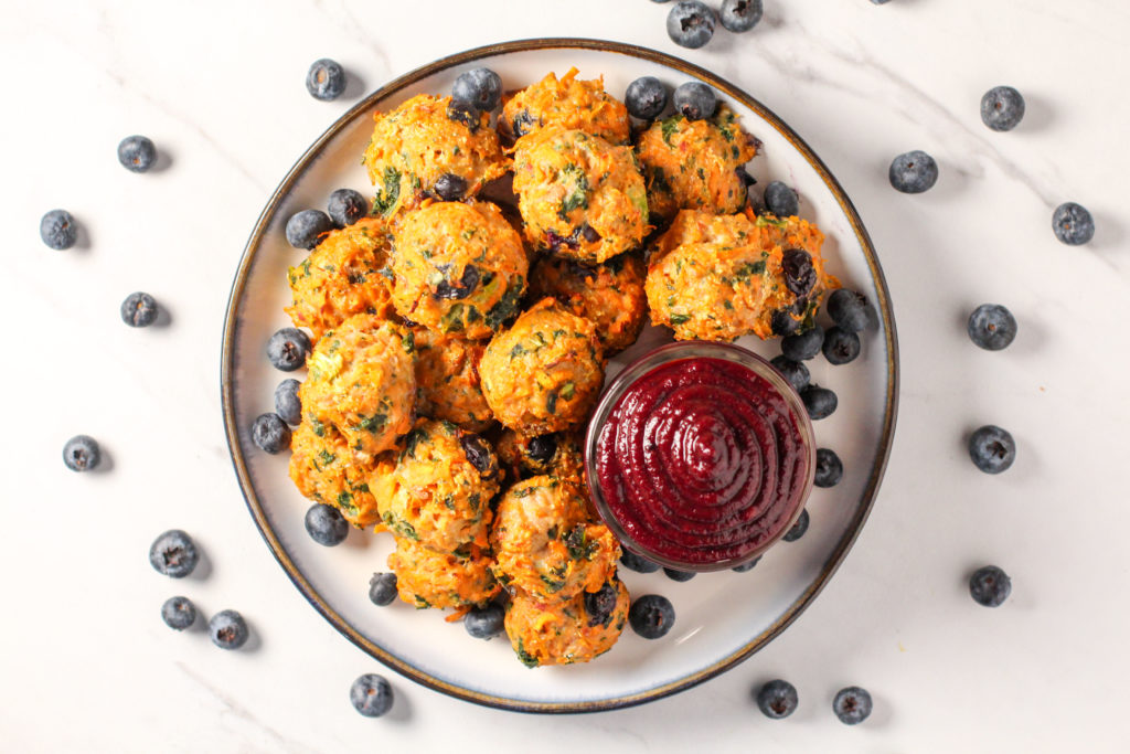 plate of blueberry meatballs with blueberry BBQ sauce