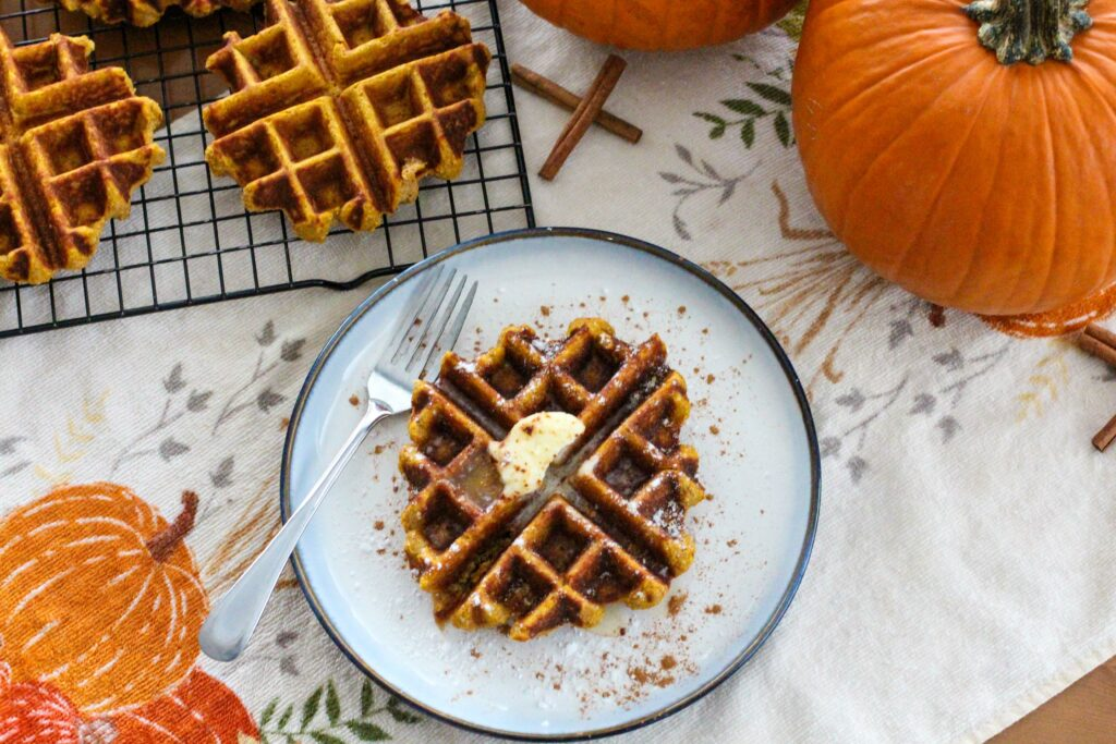 pumpkin waffle on plate with fork