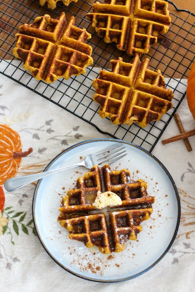 plate and wire rick with pumpkin waffles