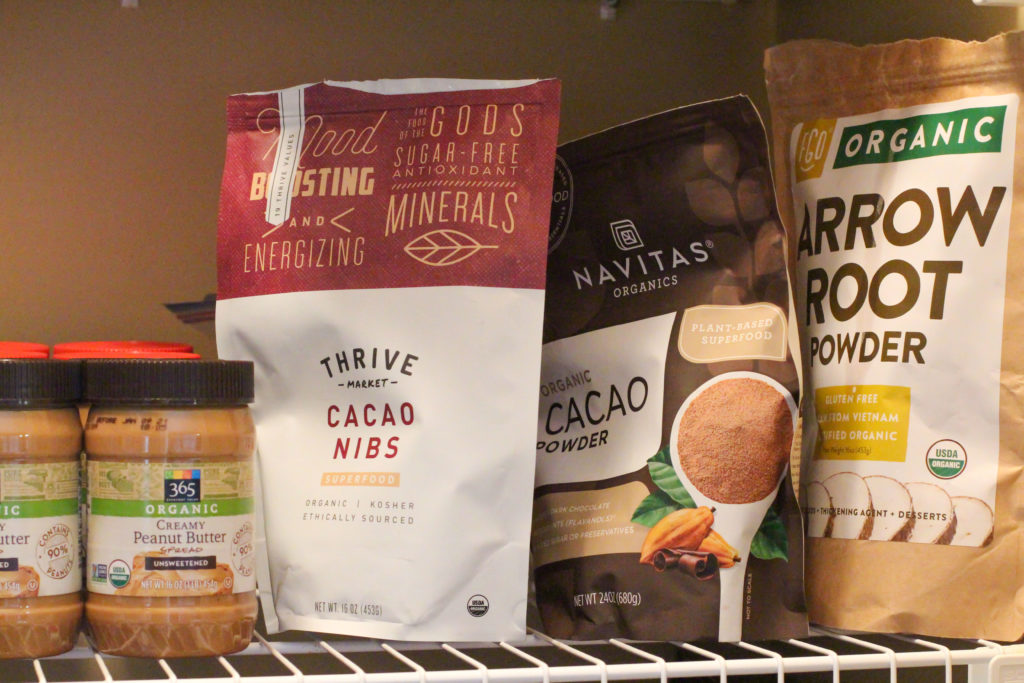 healthy shelf stable pantry products like cocoa nibs and cacao powder