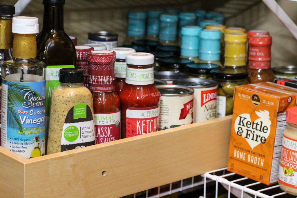 pantry shelf full of healthy shelf stable food