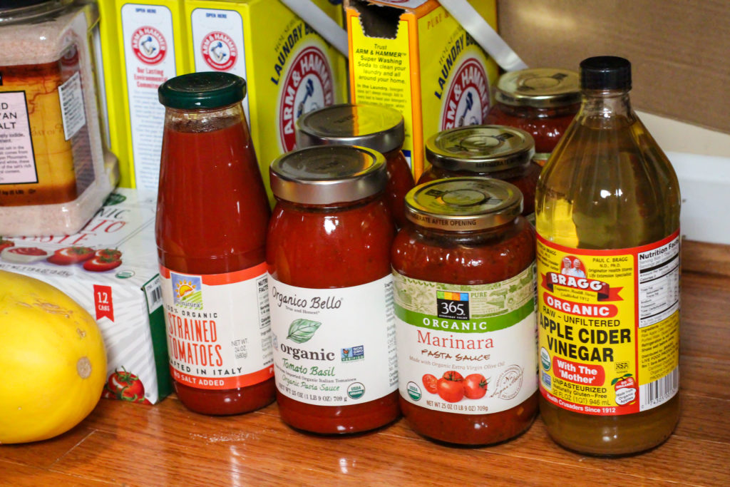 tomato products on pantry floor