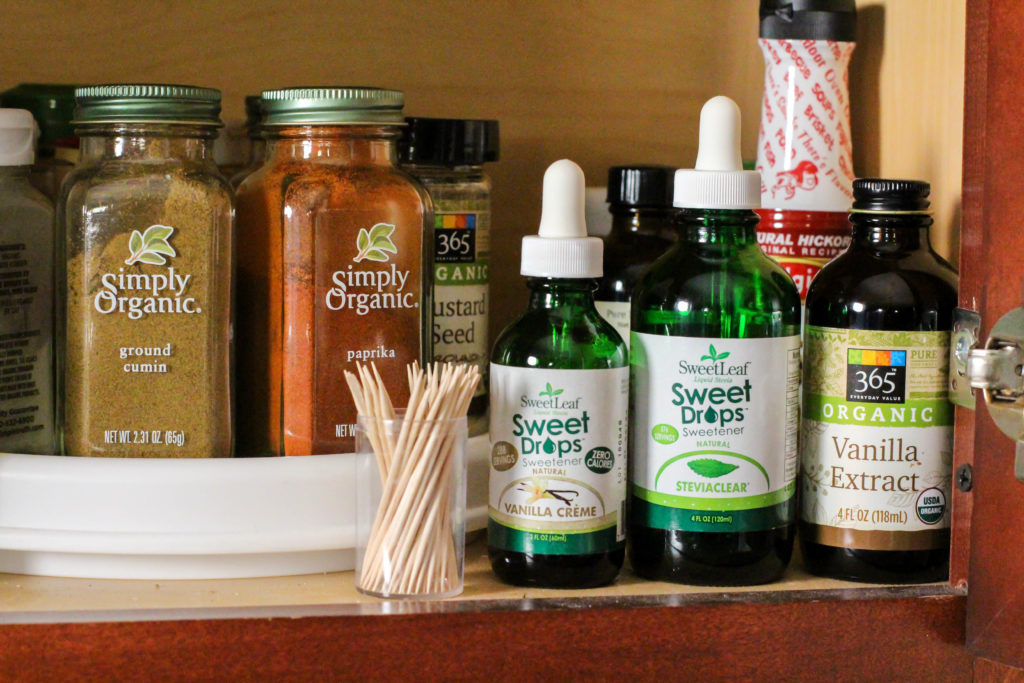 healthy shelf-stable spice cabinet items like stevia and vanilla