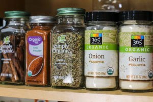 healthy organic spice shelf