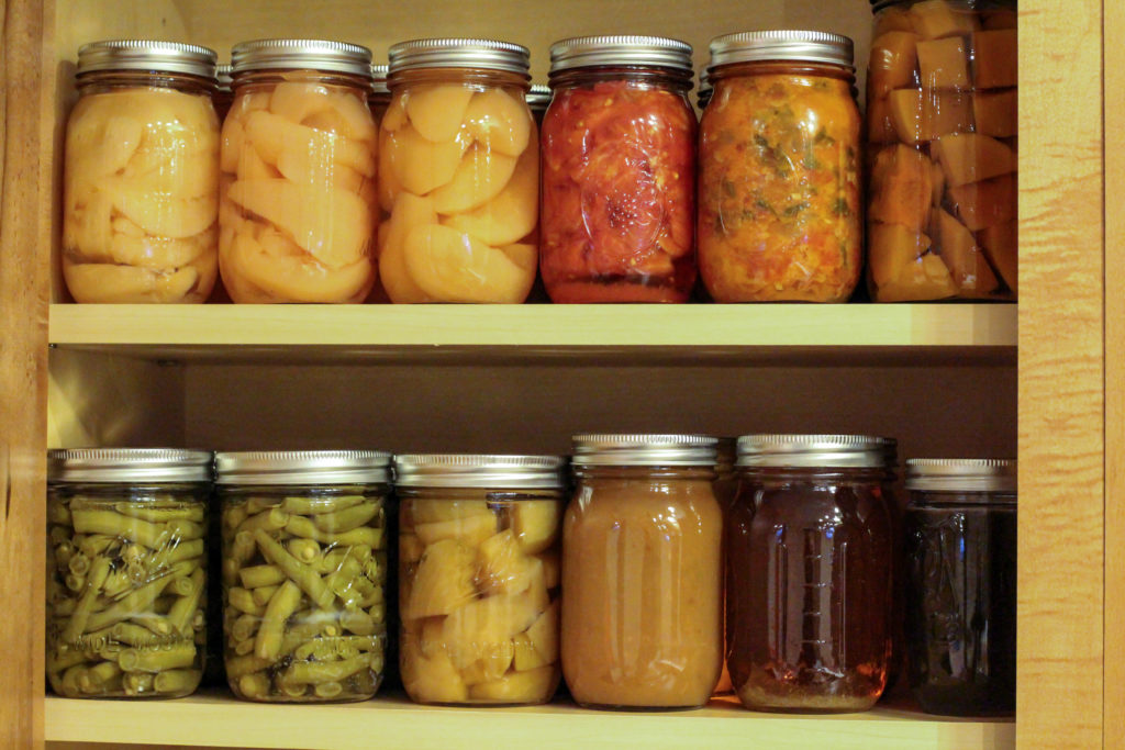 home canned produce for healthy shelf-stable food options