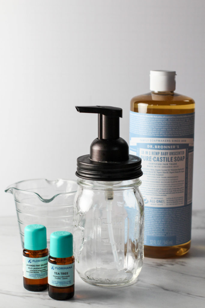 ingredients and parts needed to make your own hand soap