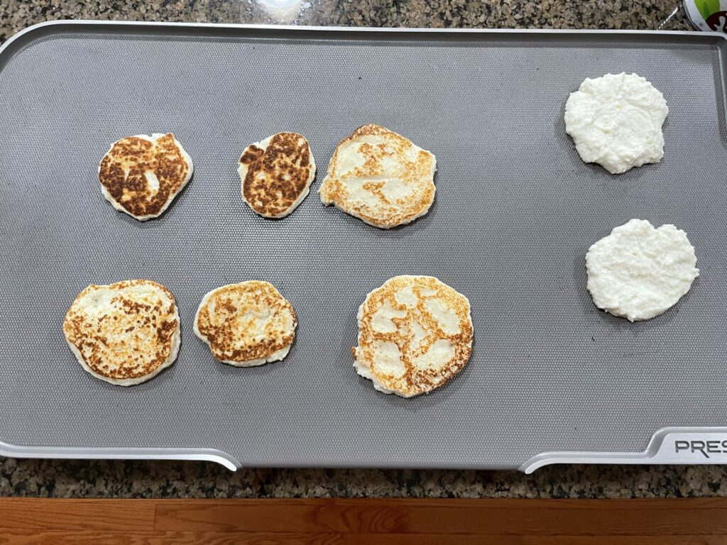 Ceramic griddle filled with egg free pancakes