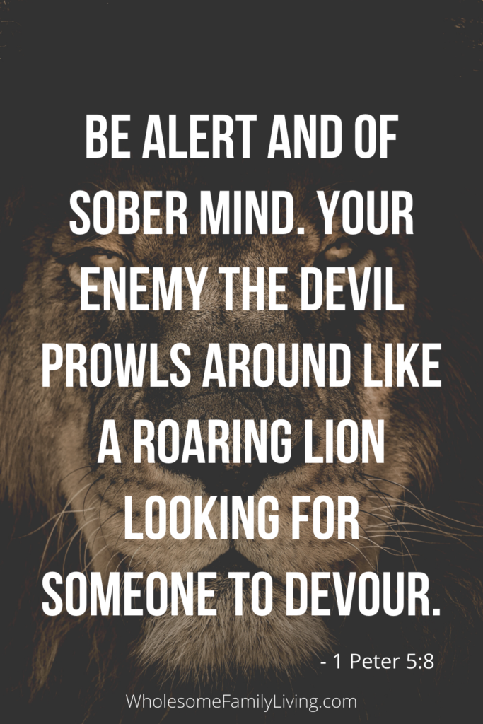 1 Peter 5:8 with lion in the background