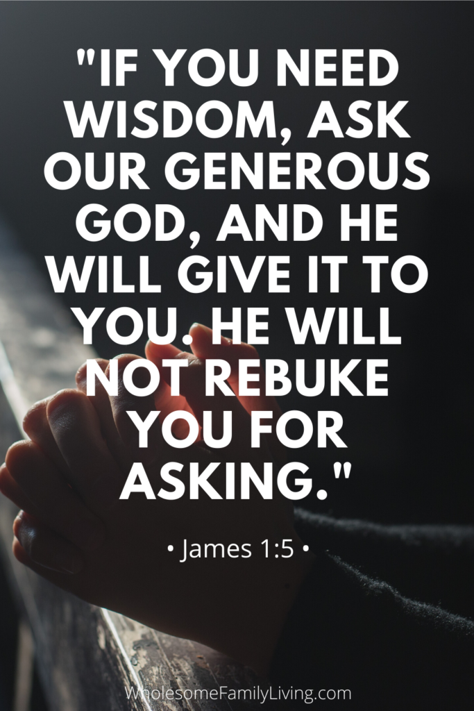JAmes 1:5 with praying hands on pew in background