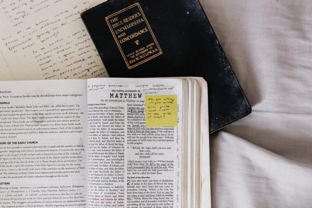 Bible open to Matthew
