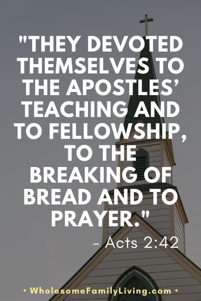 Acts 2:42 with a church steeple in the background