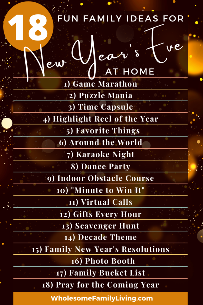 List of ideas for a fun New Years Eve at Home