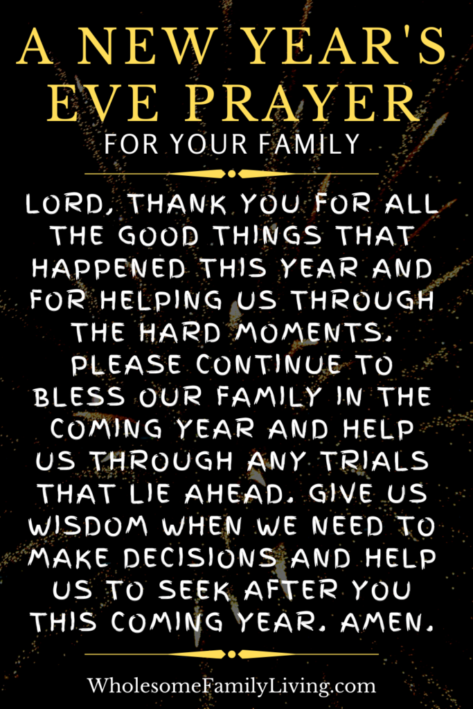 New Year's Eve at home family prayer