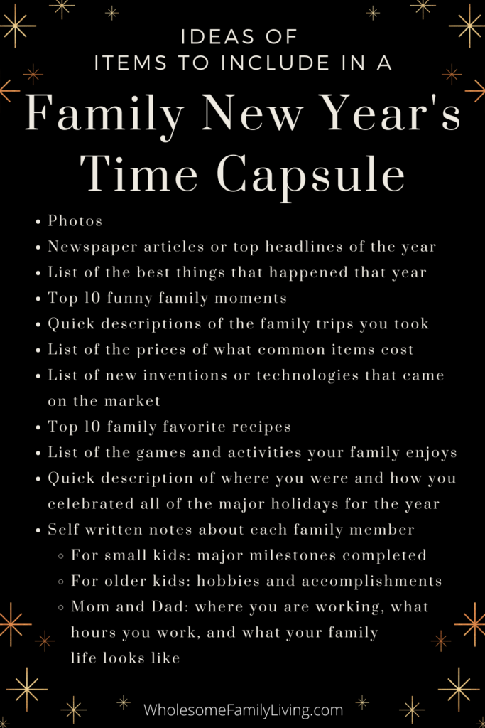 List of New Years Time Capsule Items to Include List for a New Years Eve at Home