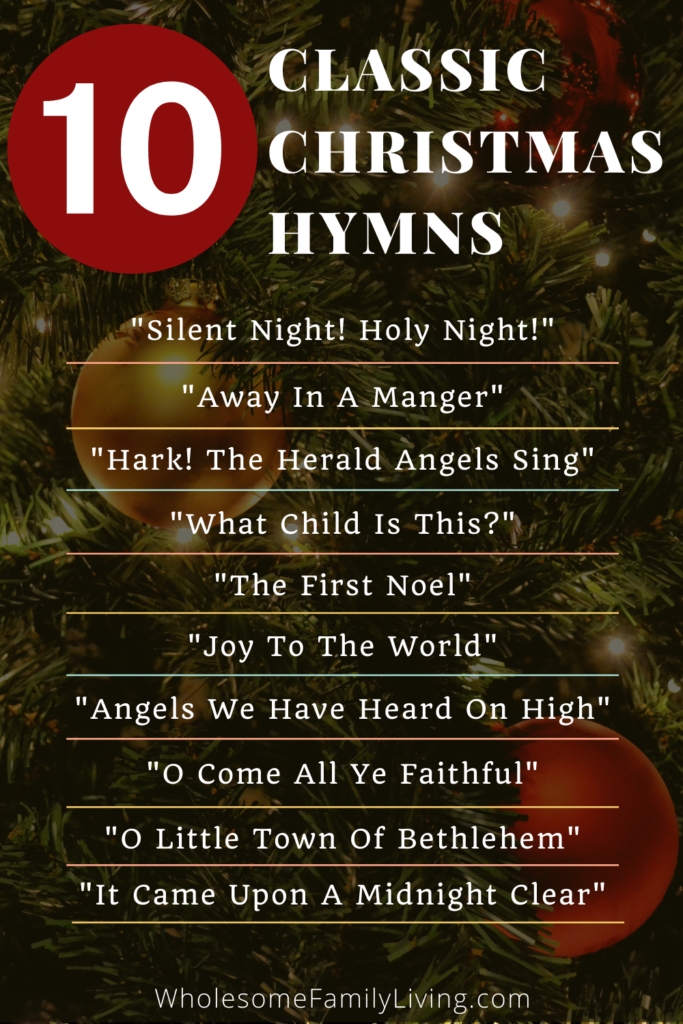 List of 10 Christmas hymns with Christmas tree in background