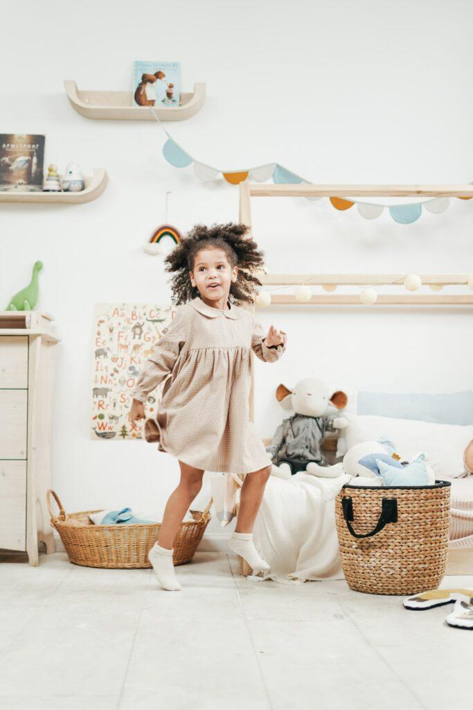 girl dancing in her room