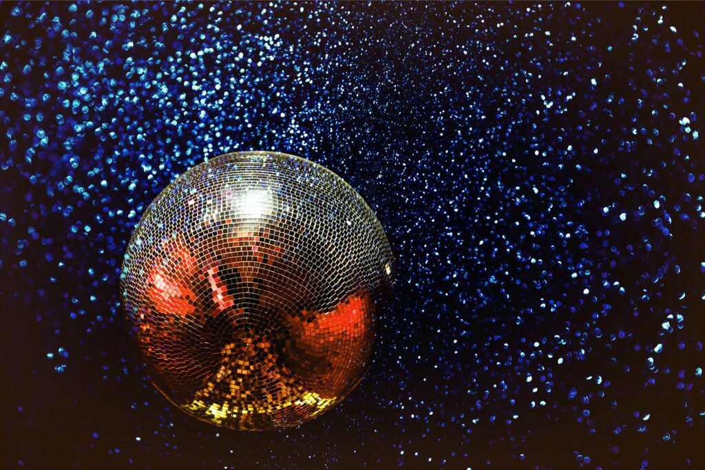 disco ball to represent a decade themed new years eve at home