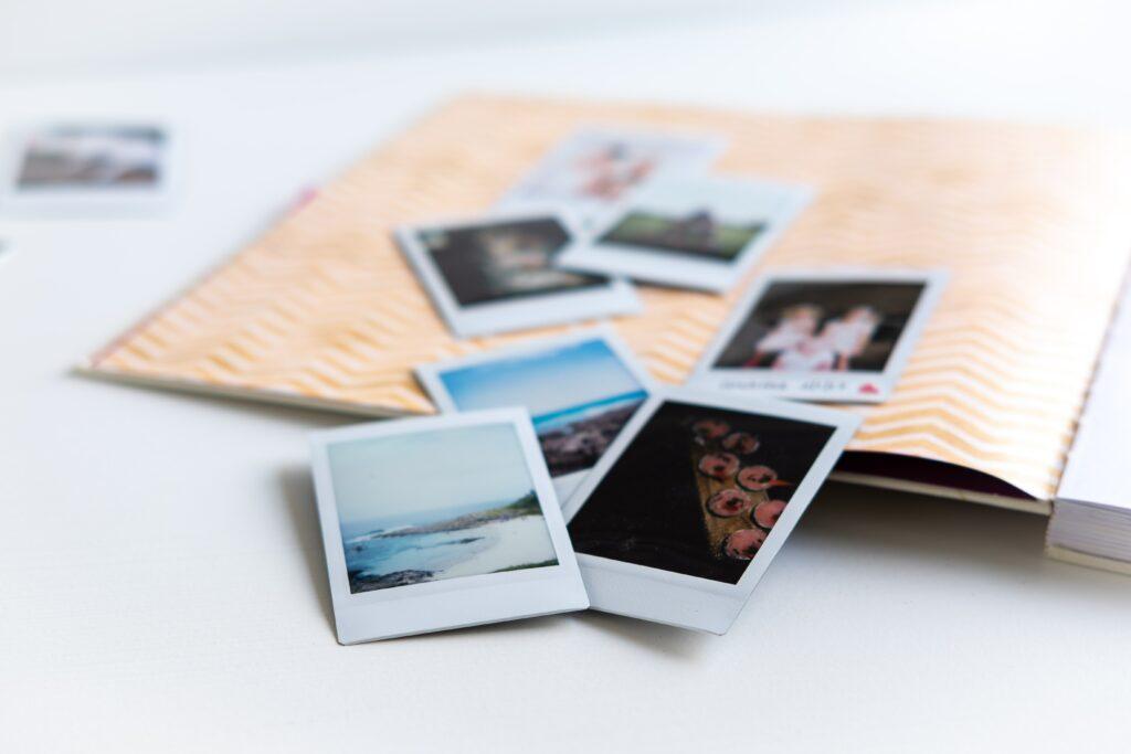 small photos on top of album