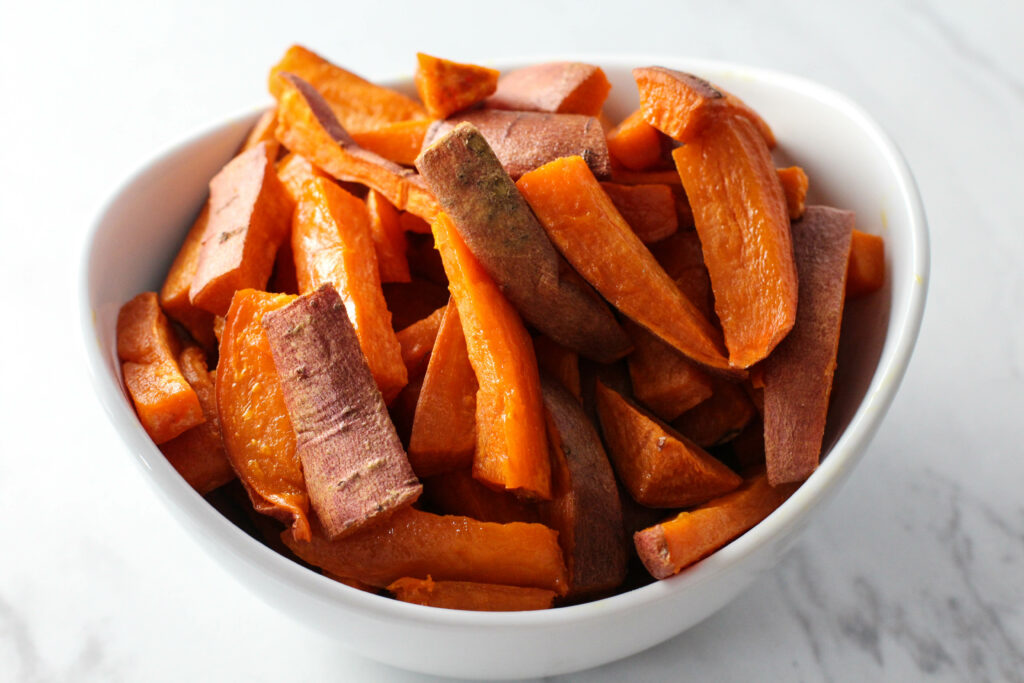 sweet potato fries in white bowl
