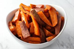 sweet potato fries in white bowl